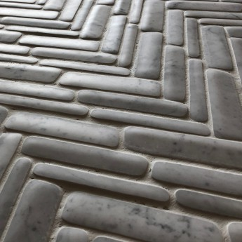 timeworn mosaic Carrara herringbone